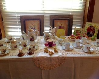 Vintage tea set, Demi- tasse and saucer collection, teddy bear figurines, doilies framed prints and table runner