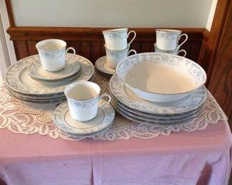 Vintage set of dishes, large lace doily