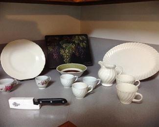 Hot plate, vintage dishes, pampered chef knife and sharpener