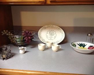 More vintage dishes, metal fruit bowl with grapes, salt and pepper shockers