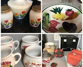 Soup mugs, vintage bowl, tulip set, 4 slice toaster, vintage creamer and sugar