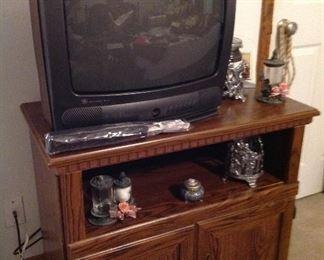 Entertainment center, vintage TV and decorative items