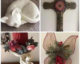 Cat, cross, cherub candleholder with floral ring, butterfly