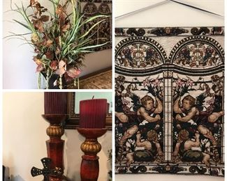 Florals, decorative candleholder with pillar candles, tapestry