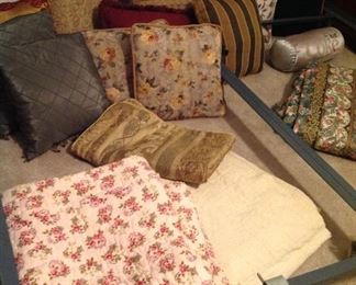 Old handmade quits and decorative pillows