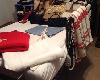 Hospital bed (electrical), blankets (including vintage blanket) and purses