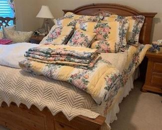 queen maple bed set with matching night stands , armoire and dresser