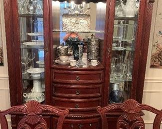 unique beautiful hutch with matching dining table and buffet table by Graebel