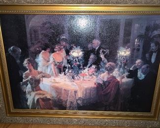 """Large """"over the sofa"""" painting """"Dinner Party"""""""