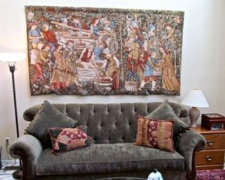 GORGEOUS TUFTED SOFA, PILLOWS, TORCHE`  FLOOR LAMP, FRENCH TAPESTRY