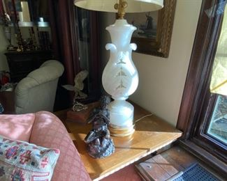 "Big beautiful pair alabaster lamps 52"" overall height base 30"" h                                                                         800.00 pr."