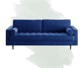 Foundstone Derry Velvet Square Arm Sofa In Sapphire