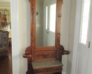 Antique Carved Hall Tree With Storage