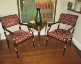 Stunning Pair Of Gold Accent Arm Chairs (Not table)