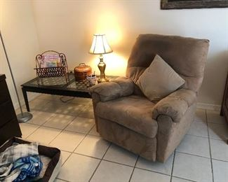 Coffee table, recliner, small lamp
