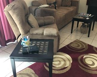 Another recliner, ultra suede matching sofa & rug