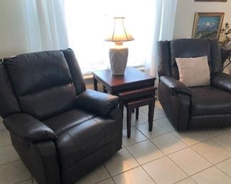 2 pleather recliners