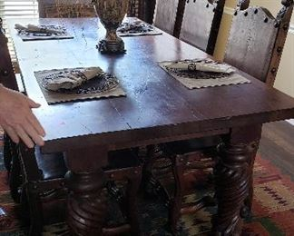 Old World table/chairs.  Especially made in Houston, TX      Price is $3900   RUG IS NOT FOR SALE