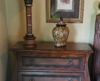 Night tables (2) with 3 drawers.  Two night tables for $575    Lamp and animal print decor