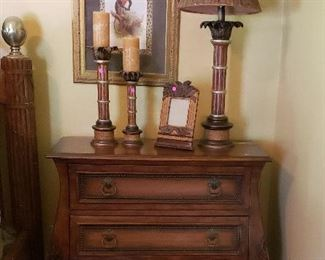 Night table with 3 drawers, candles, lamp, animal print decor.  Night tables (2)  $575