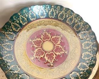 """15"""" round handmade Turkish glass bowl"""