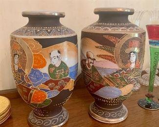 """Pair of 13"""" tall antique Satsuma vases"""