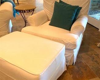 slip-cover chair & ottoman