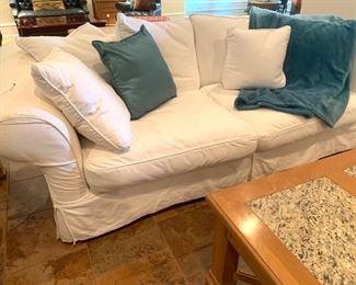 comfy slip-cover sofa