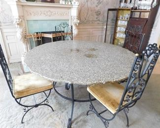 Custom Marble Lithic Table and 6 Chairs