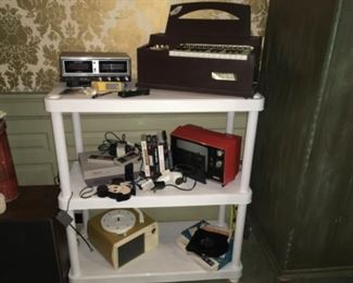 Child's Organ,  Clock Radio, Child's Record Player, Small Red Tv, Nintendo System and Games