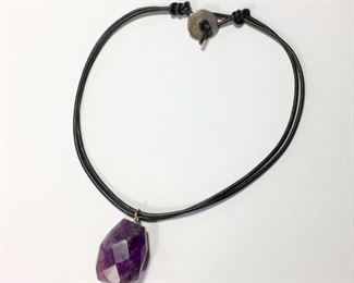 """Boho 16 1/2"""" L black leather necklace featuring a huge faceted genuine amethyst pendant. Silver clasp signed ATHENS PROTASIS.  $60"""