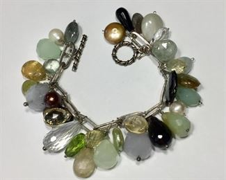 """FABULOUS Sterling silver link bracelet studded with pearls and gemstones, including chalcedony, rock crystal, peridot, labradorite, citrine, aquamarine, jasper and smoky quartz. 6 3/4"""" long.  $220"""