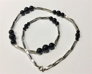 """FABULOUS 24"""" Sterling silver and onyx beaded necklace with super unique twisted tubular sterling beads - a really great look! Stamped STERLING. $130"""