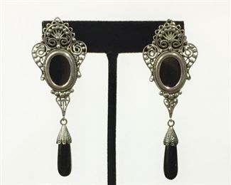 """Your new favorites.  Vintage Sterling silver filigree and onyx pierced earrings.  They measure 1"""" wide x 3"""" long.    Perfectly in style right now.  $110"""