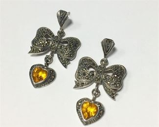 """Adorable vintage Sterling silver, citrine and marcasite pierced earrings, with marcasite-studded bows and  heart-shaped charms containing beautiful faceted citrine cabochons. 1"""" x 1 3/4"""" long.  $80"""