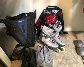 Shoes, weights, and backpacks.