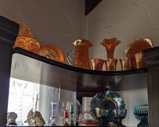 Mixed pieces of carnival glass Small $5.00 each, Med $15.00 ea, Large $25.00