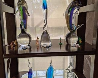 Signed Murano Glass of Fish and Dolphins each piece is signed $ 145.00 each