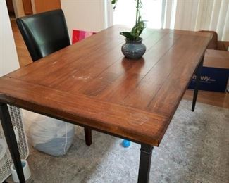Rectangular Contemporary Slab Table. 4 Black Leather Chairs.