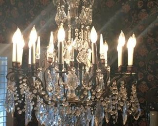 Beautiful 16 globe Chandelier.  Approx. 45 years old.  Every piece is pristene.  No cracks.  No missing pieces. Note:  you must be a professional to remove this item or have a professional remove it.    We do not have a ladder to assist.
