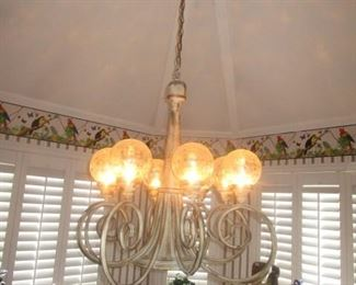 Breakfast room light fixture.  6 globes.  Approximately 16' chain.    Note you must be a professional to remove this fixture.  We do not have a ladder to assist you.