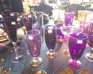 Stemware in shades of purple, cranberry and neon colors for fun and fanciful entertaining.