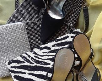 Shoes and bags range from black to neon bright colors in various styles by well known makers. 25% off.