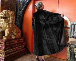 Black Gamma full length mink coat with very full swing. $2,600 with 25% off. Medium size. Nice and long. Gorgeous! What a lap robe if we aren't traveling when the weather turns cold!