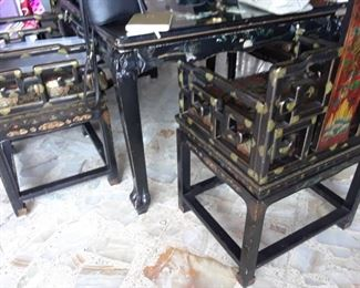 Game table and four chairs.