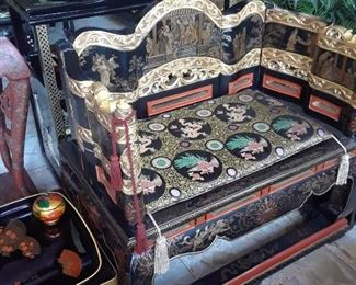 Pair of beautiul seats with gold and hand painted designs.
