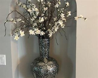 Beautiful floral in mosaic vase