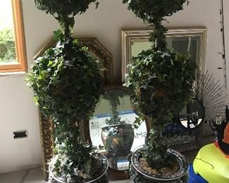 2 topiaries in decorative vase w/ stand