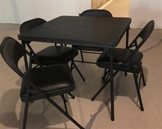 Padded card table & chairs