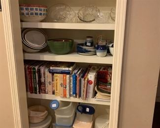 Den: Rose bowls, large decorative glass bowls, blue and white pottery, cook books, Tupperware